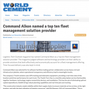 World Cement, Command Alkon Named a Top Ten Fleet Management Solution Provider