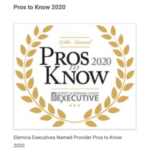 Logo: Elemica Three Pros to Know 2020, Supply & Demand Chain Executive Magazine