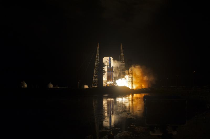 NASA Rocket Launch at night at distance