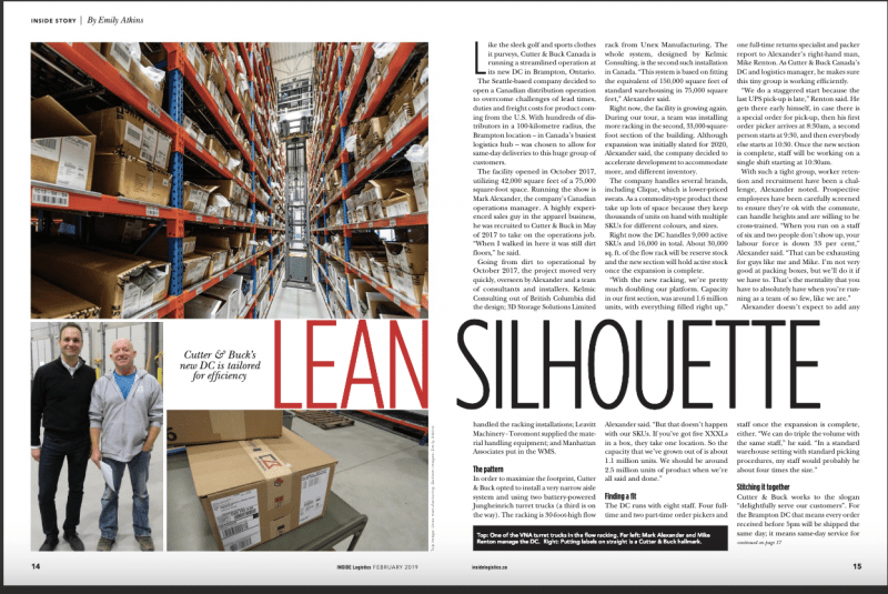 Material Handling PR Agency, Material Handling Marketing Agency, M1PR Client, Unex Manufacturing, two-page spread in Inside Logistics