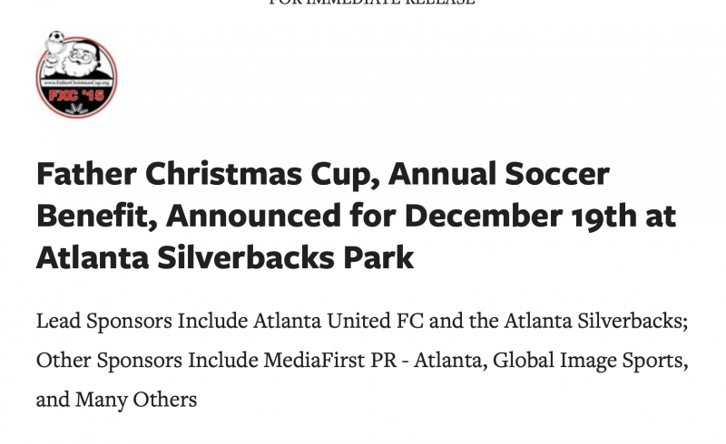 Press Release, Atlanta United FC sponsor of Father Christmas Cup