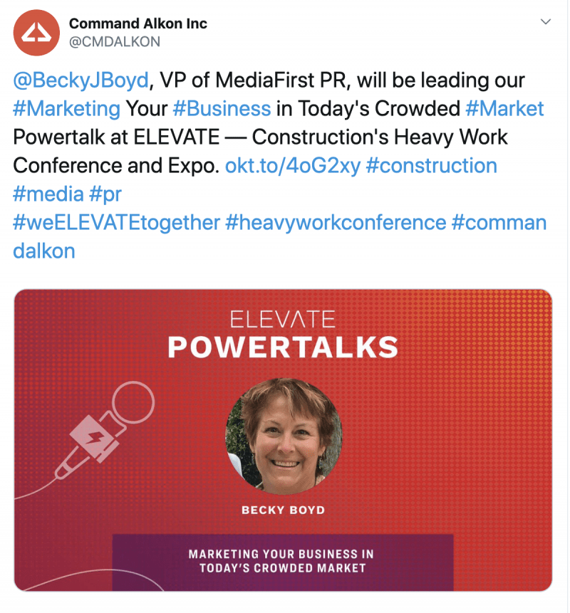 Becky Boyd, @BeckyJBoyd , VP of MediaFirst PR, will be leading our #Marketing Your #Business in Today's Crowded #Market Powertalk at ELEVATE — Construction's Heavy Work Conference and Expo
