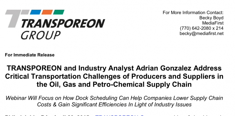 Transporeon and Industry Analyst Adrian Gonzalez Webinar Announcement Press Release