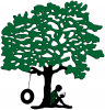 High Meadows School and Camp Logo, tree with tire swing